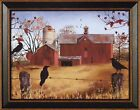 AUTUMN GOLD by Billy Jacobs 15x19 FRAMED PRINT PICTURE Red Barn Fall Crows Birds