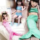 New Kid Girls Swimwear mermaid Tail Costume Swimsuit Bikini Sets 2.3.4.5.6.7yrs