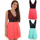 Ladies V Neck Lace Contrast Chiffon Pleated Lined Low Back Skater Party Dress