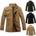 Fashion Thicken Warm Mens Military Long Coat Outwear Jacket Cargo Tops Overcoat