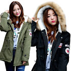Womens Ladies Winter Fur Hooded Military Coat Jacket Parka Outwear 6 Colors S-4L
