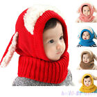 Girls Boys Toddler Baby Winter  Warm Hat Hooded Scarf Earflap Knitted Cap