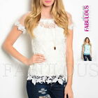 New Sexy Sheer Crochet Lace Top Hot Party Casual Shirt Blouse Size 8 10 12 S M L