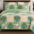 Picturesque Chic Shabby PATCHWORK Blue Green QUILT COVERLET SET Oversized