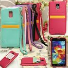 BADI Leather Card Wallet Holder+Strap TPU Case Cover For Samsung Galaxy S5 i9600