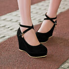 Gorgeous Suede Wedge Across Shoes Women Top Knot Straps Wedding Party High Heels