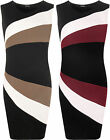 Plus Womens Sleeveless Bodycon Block Contrast Panel Stripe Ladies Party Dress