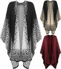 New Plus Womens Animal Print Knitted Long Cardigan Jacket Top Ladies Shawl 10-28