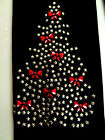 Plus Size Full-Length Leggings Embellished Gold Xmas Tree With Red Bows