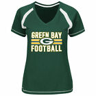 Majestic Green Bay Packers Women's Green Plus Sizes Game Day V-Neck T-Shirt
