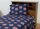 Auburn Tigers Sheet Set Twin Full Queen King Size White or Color