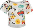 New Womens Comic Print Knit Mesh Baggy Short Sleeve Ladies Crop Top 8-14