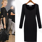 Spring Casual Womens Solid Scoop Neck Long Sleeves Simple Mid-calf Dress Sheath