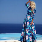 Elegant Vintage Women Bohemia Blue Floral Maxi Long Beach Party Cocktail Dress