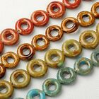 5 Porcelain Handmade Donut Disc Beads 18mm - 22mm. 5 Colours Available (BOX35)