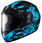 HJC Youth Blue/Black CL-Y Flame Face Framed Dual Lens Shield Snowmobile Helmet