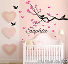 Personalised name & CHERRY BLSSOM, Birds Kid / Nursery Removable Wall sticker