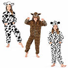 Kids 3D Animal Print Onesie With Ears New Girls Childs Soft Sleepsuit Loungewear