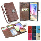 Dual Wallet Leather Book Flip Case Cover For iPhone Samsung Galaxy LG + Strap