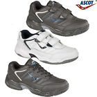 MENS ASCOT WIDE FIT LEATHER WALKING RUNNING GYM SPORTS CASUAL TRAINERS SHOES SIZ