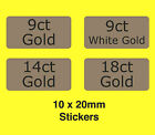 9ct 14ct 18ct White Gold / Retail Jewellery Shop Display Labels