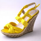 NEW WOMENS YELLOW KNOTTED STRAP HIGH WEDGE HEEL SANDAL