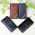 Mens Long Wallet Purse Leather Zip Up Zipper Card Case Cover For Galaxy Range