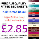 FITTED SHEETS PERCALE NON IRON PLAIN DYED POLYCOTTN SINGLE DOUBLE KING S.KING