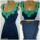 NEW PER UNA M&S DRESS FIT & FLARE RETRO FLORAL LACE NAVY BLUE GREEN PARTY 8 - 18