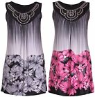 Womens Plus Size Floral Animal Print Ladies Sleeveless Bead Vest Long Tunic Top