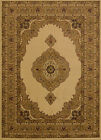 Ivory Traditional Oriental Carpet Medallion Scrolls Bordered Vines  Area Rug