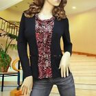 BLACK/RED COWL NECK LEOPARD CARDIGAN STYLE BLOUSE TOP 1889 SIZE XS/S