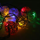 Solar Power 20 LED 5m White Rattan Wicker Ball Outdoor Garden Xmas Party Light