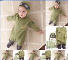 New Baby Boy Astronaut Costume  Romper Bodysuit + hat Out-fit  from 6M to 18M