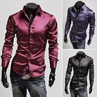 New Stylish Men's Casual Shiny Silk Long Sleeve Dress Shirts Tops 3 Colors S M L
