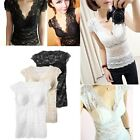Womens Stretch Padded Bra Top V-Neck Cotton T-Shirt Lace Vest Sleeveless Yoga