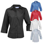 Ladies Womens Plus Size Blouse Shirt Top 3/4 Sleeve Work Office Formal Open Neck