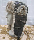 NEW WOODLAND CAMO STYLE RIPSTOP COTTON & GREY FUR FABRIC TRAPPER HAT-S,M,L,XL