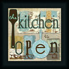 The Kitchen is Open 12x12 Turquoise Brown Sign Art Print Framed Picture