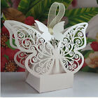 50pcs Butterfly Bird Heart Laser Cut Wedding Party Favor Candy Gift Boxes Ribbon