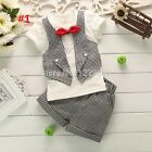 Baby Boy Formal Tuxedo Suit Christmas  outfit Suit top+shorts+bow tie 6M - 24M
