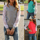 Women Casual Shirt Lace Patchwork Sleeve Sweatshirts Loose Tops Pullover AUJR