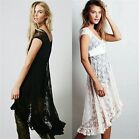 Women's Sleeveless Black White Floral Lace Evening Prom Cocktail High Low Dress
