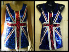 BLUE UNION JACK ENGLAND FLAG BLING SEQUINNED LADIES TOP PARTY GIFT ONE SIZE 8-12