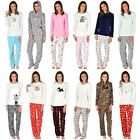 Ladies Fleece Pyjama Set PJs Top & Bottoms Nightwear - Great Christmas Gift!