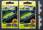 4 X CLIP ON FISHING ROD TIP LIGHTS / LIGHTSTICKS, (SIZE: LARGE)