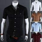New Casual Men's Summer Short Sleeve Shirts Fashion Sportsman Classic Blouse Top
