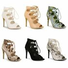 Womens Ladies Lace Up High Heels Stiletto Evening Party Peep Toe Shoe Boots Size