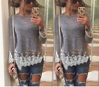Hot Women Lace Long Sleeve Casual Tops Blouse Shirt Ladies Loose Crochet Top