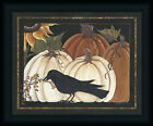 Harvest Crow 16x20 Pumpkin Autumn Still Life Framed Art Print Picture Wall Decor